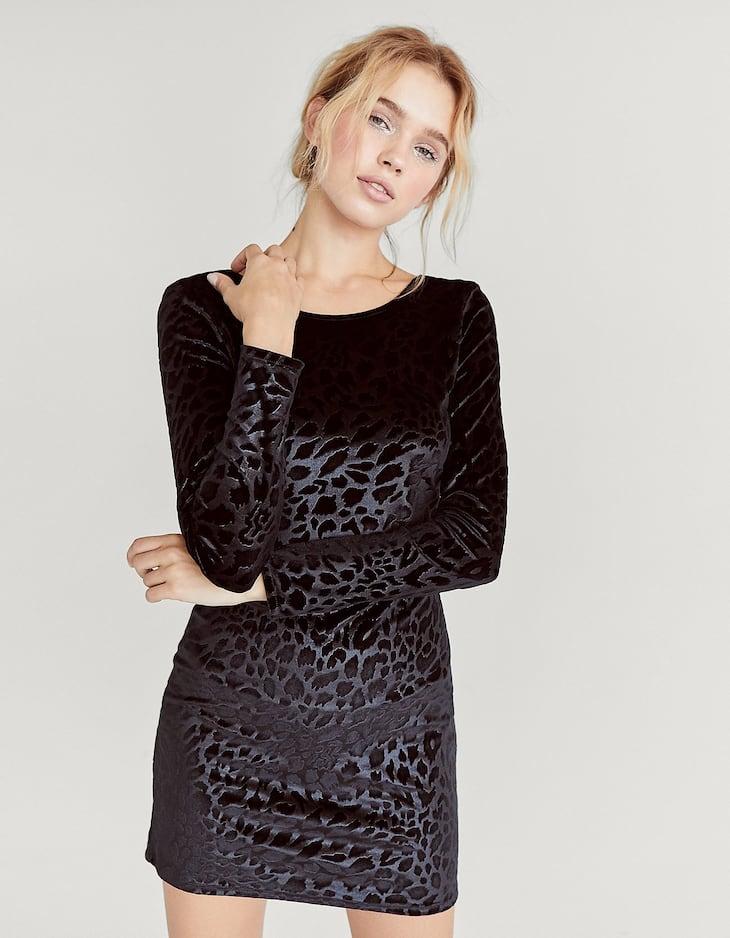 Velours jurk met panterprint