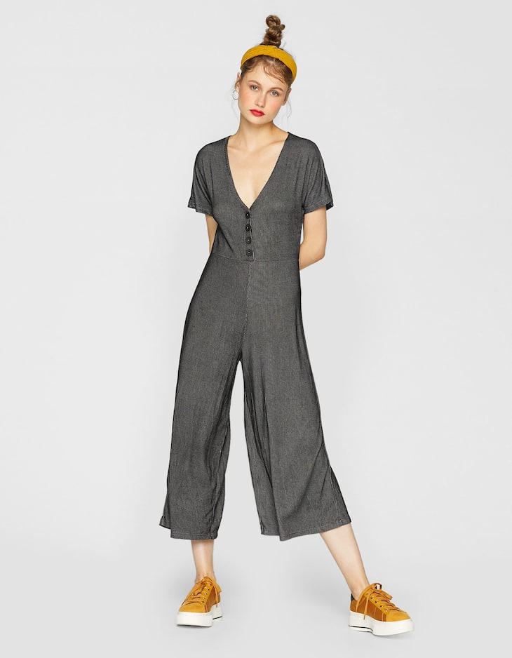 Long jumpsuit with front buttons