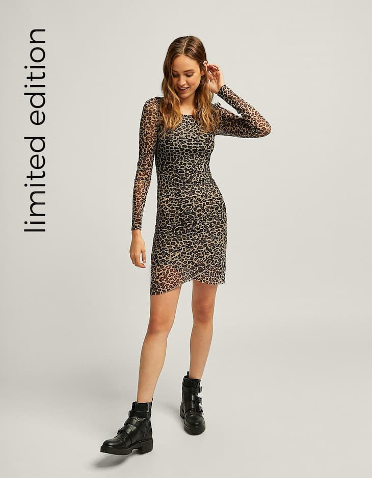 Short tulle leopard print dress