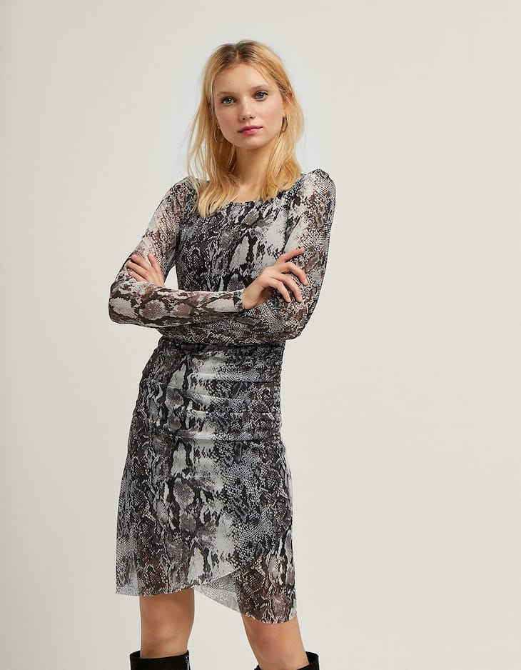 Short tulle snakeskin print dress