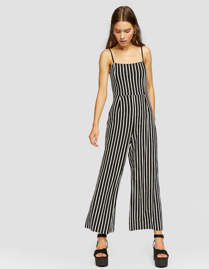 Strappy culotte jumpsuit with square-cut neckline