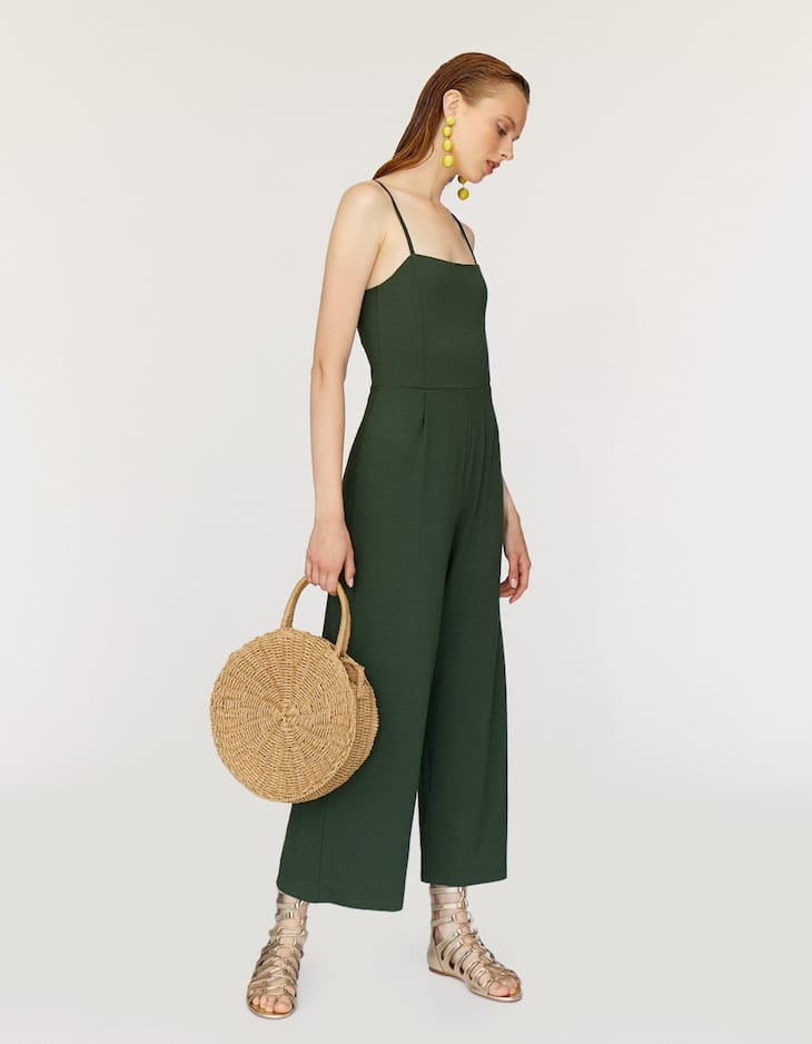 Plain strappy culotte jumpsuit with square-cut neckline