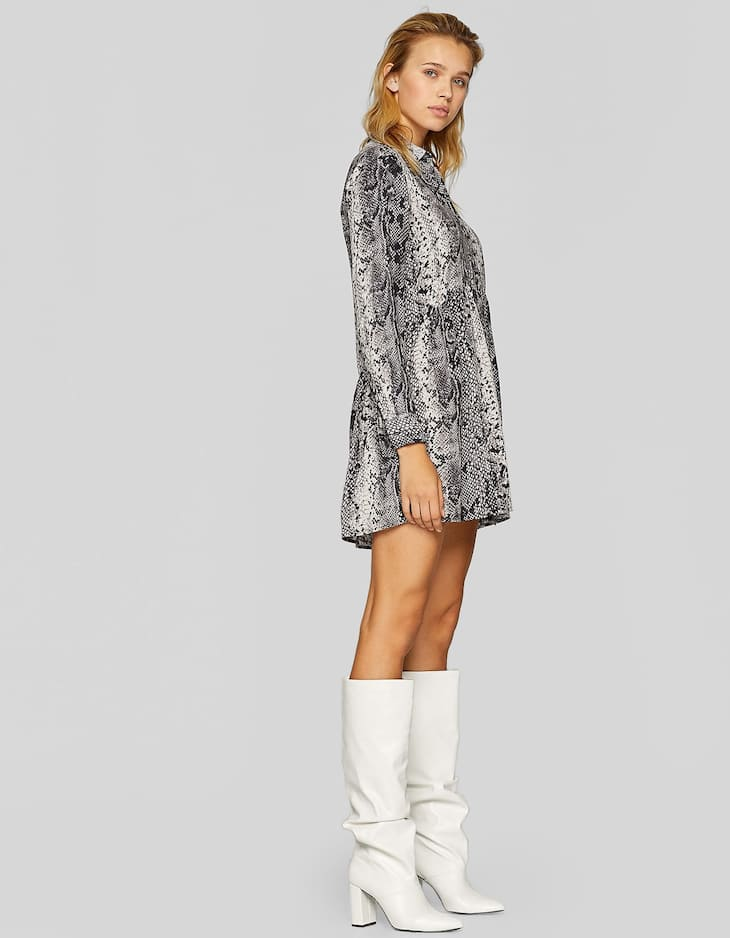 Snakeskin print shirt dress