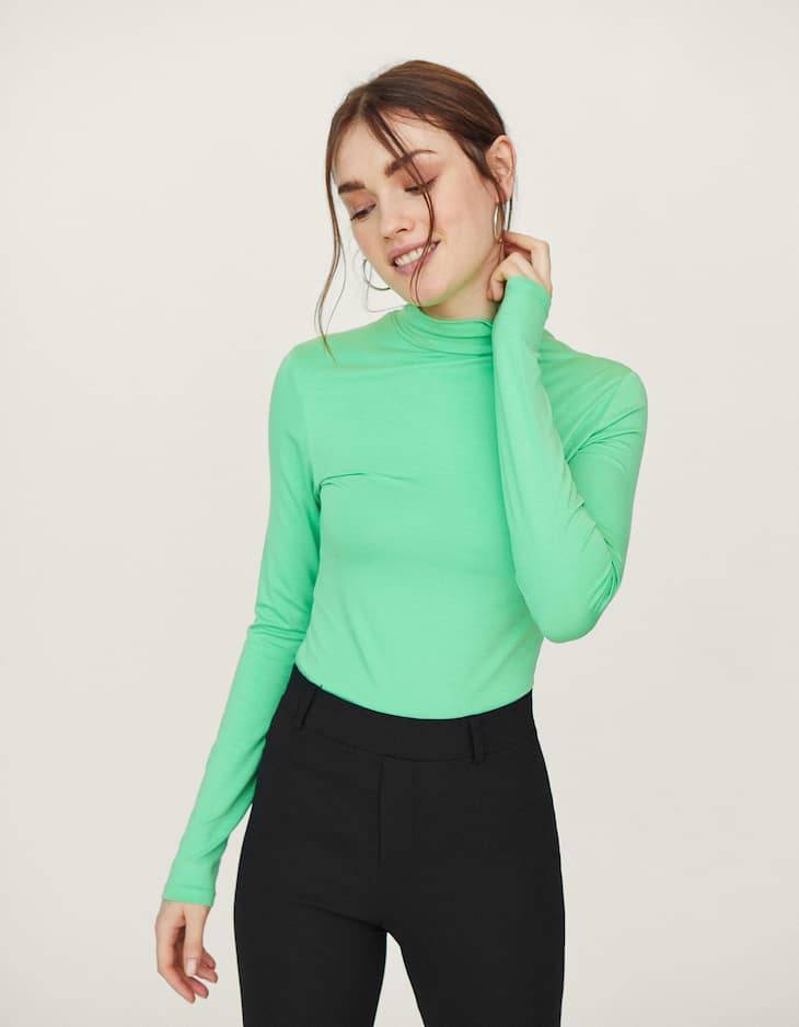Long sleeve high neck T-shirt