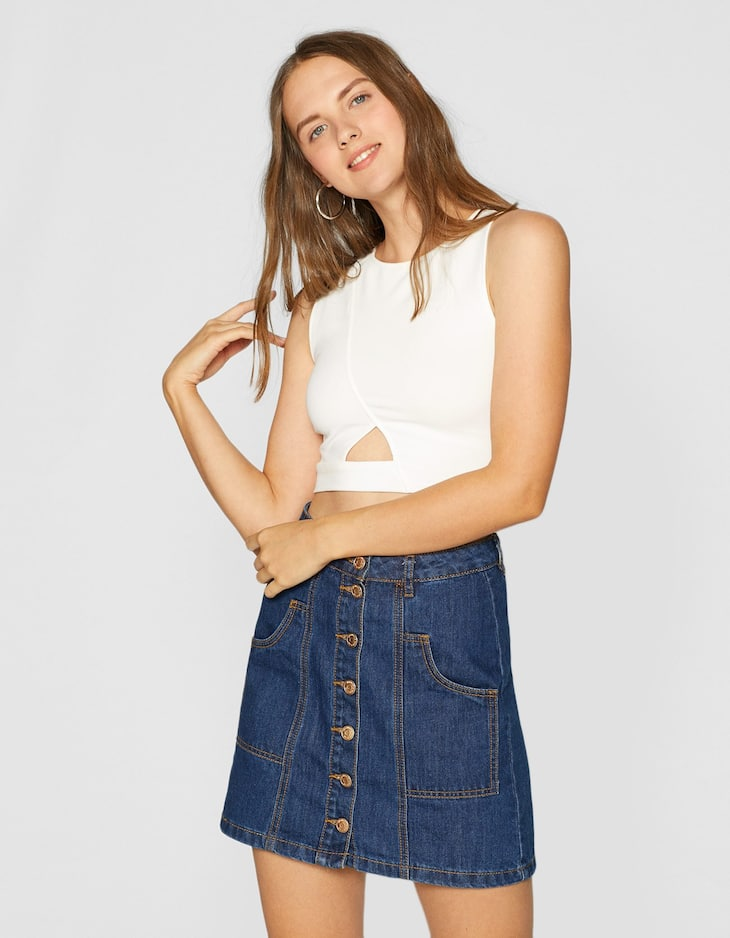 Crop top with central cut-out detail