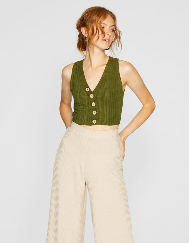 V-neck crop top with buttons