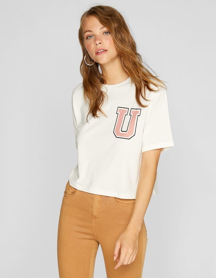 Flocked cropped T-shirt