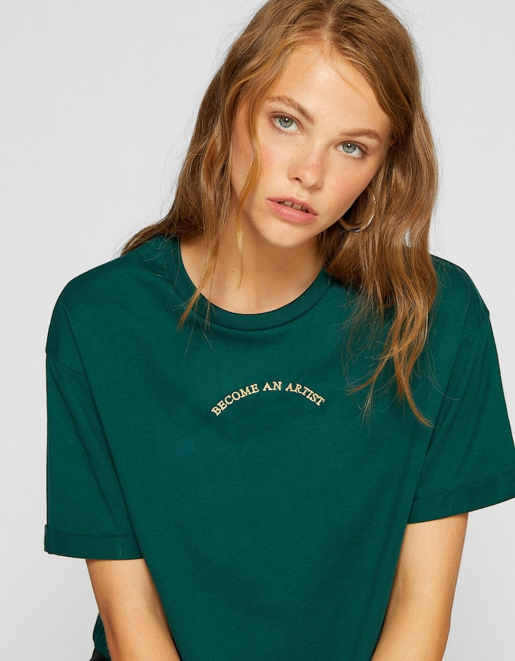 T-shirt cropped flocked