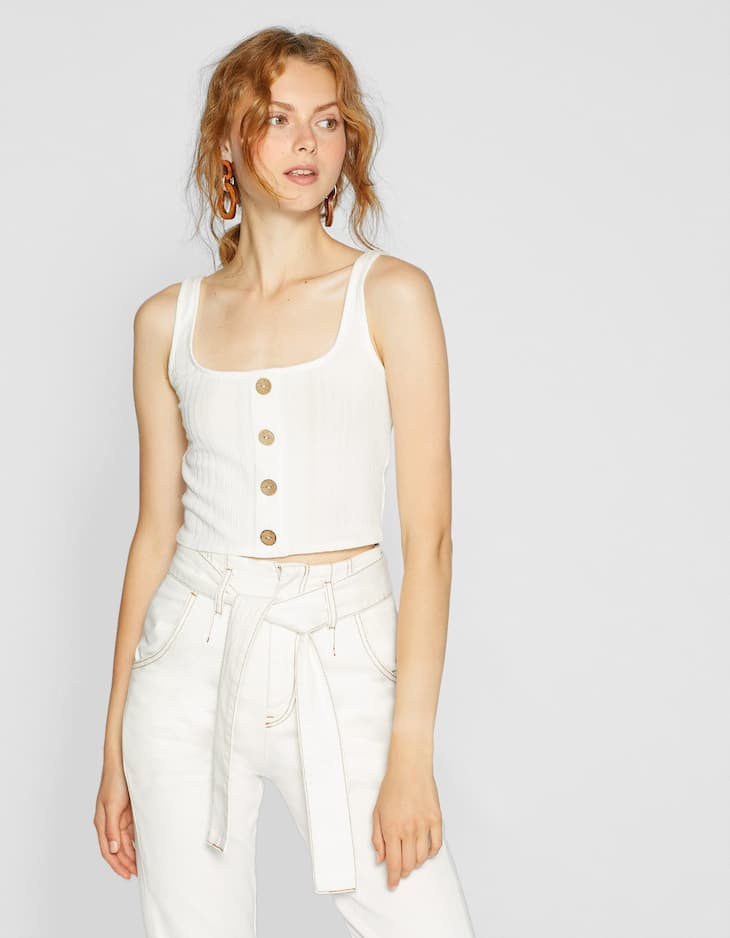 Crop top with straps and buttons