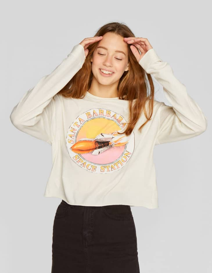 Long sleeve T-shirt with space print