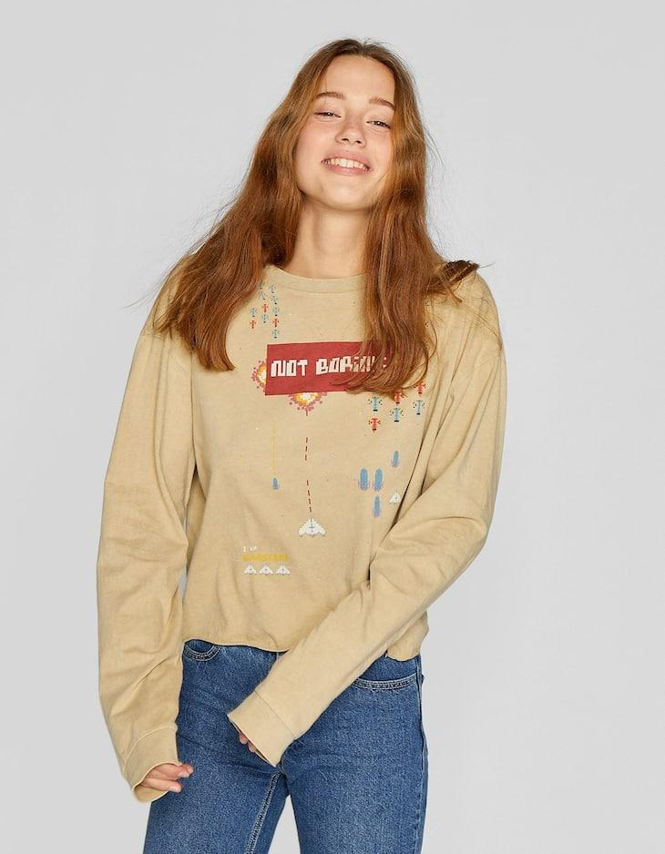 T-shirt manches courtes imprimé espace