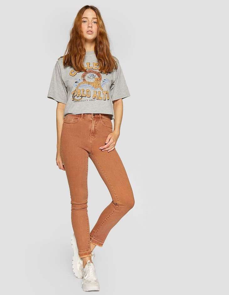 High waist skinny twill trousers