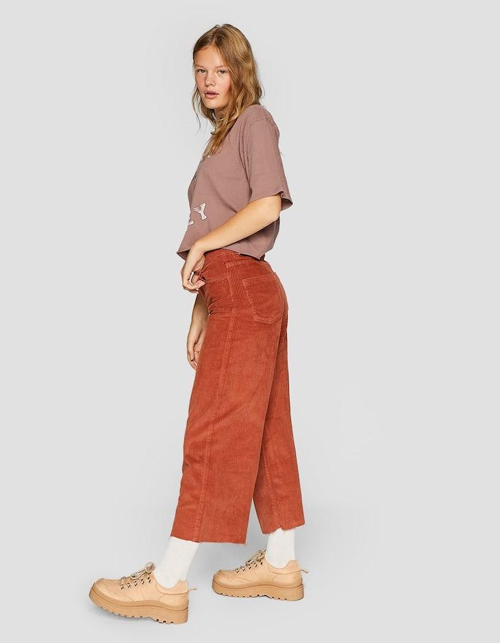 Jupe-culotte velours côtelé