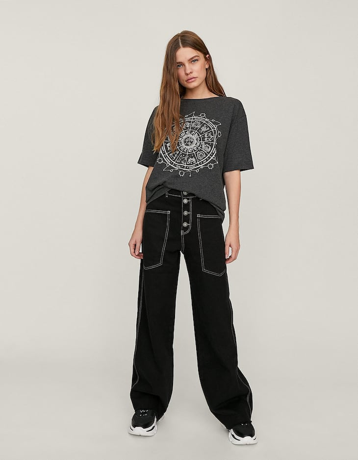 Bootcut jeans with contrasting seams