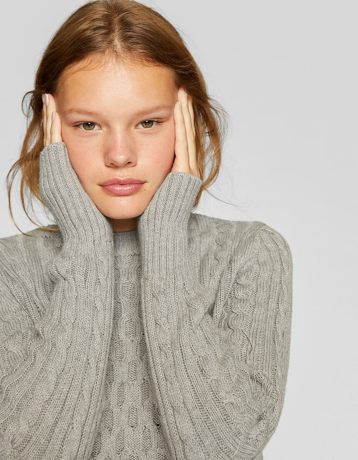 Chunky cable-knit sweater with round neck