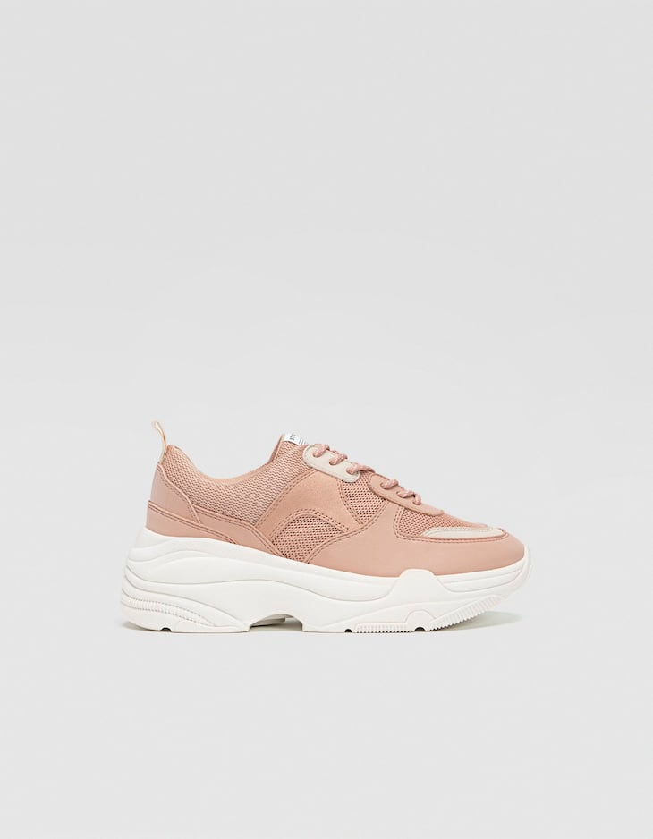Nude chunky sole trainers