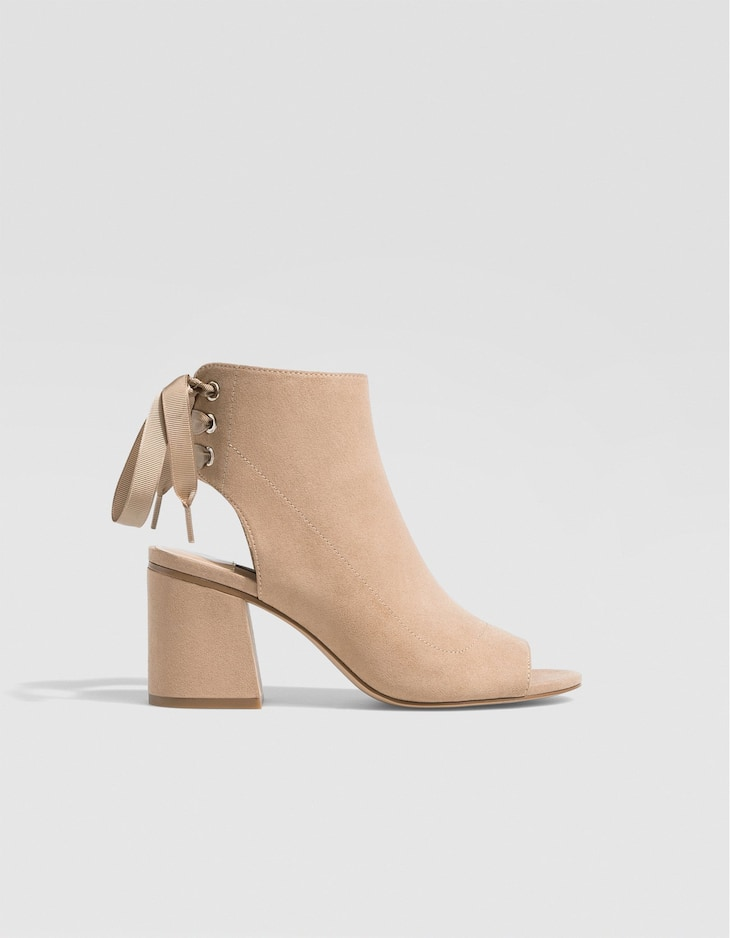 Nude sandal-style ankle boots with lace-up detail
