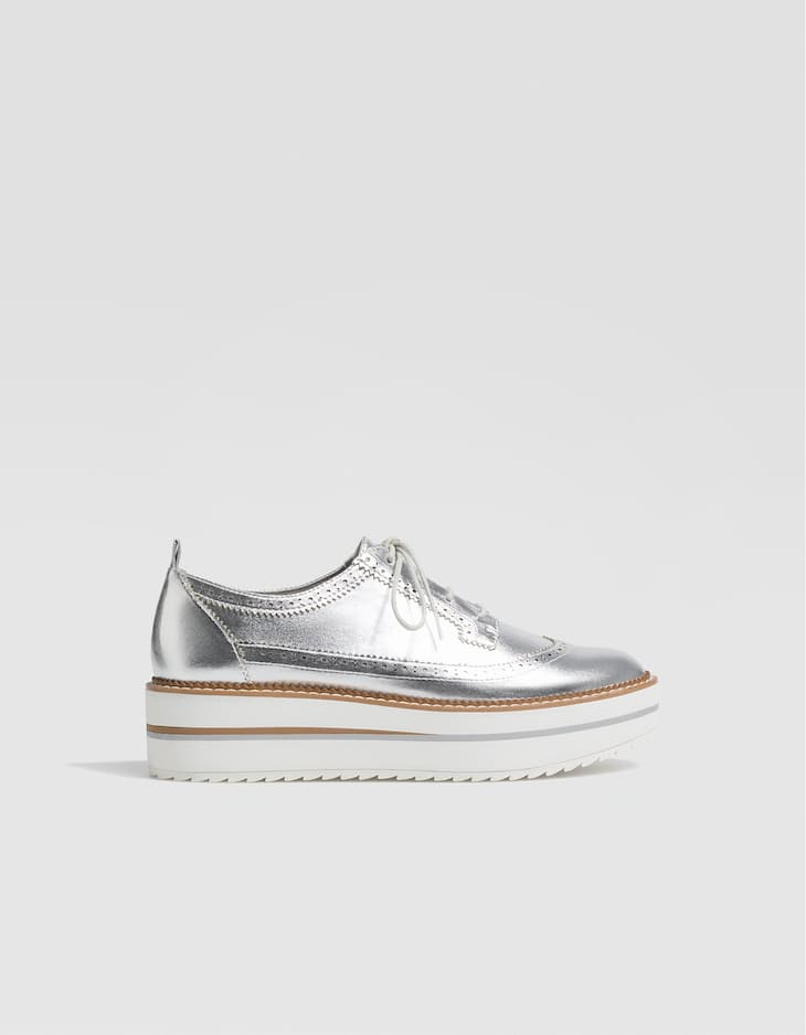 Metallic flatform brogues