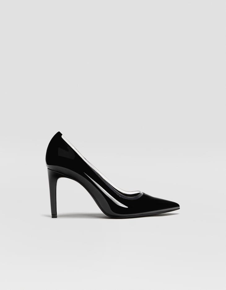 Black vinyl stiletto heel court shoes