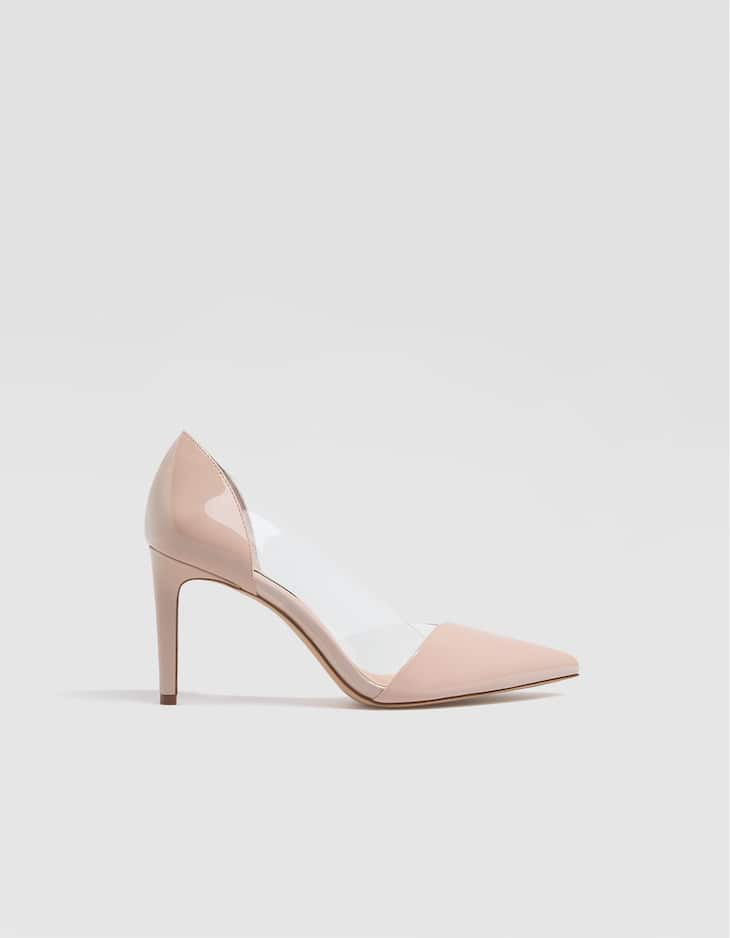 High heel court shoes with contrasting vinyl sides