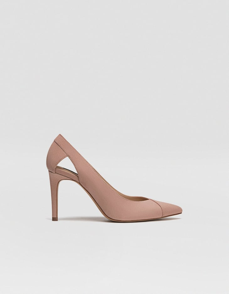Nude cut-out high heel court shoes