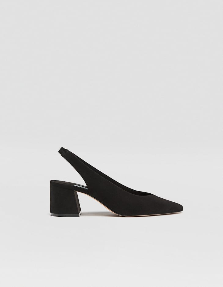 Black slingback mid-heel court shoes