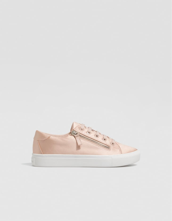 Nude trainers with zips