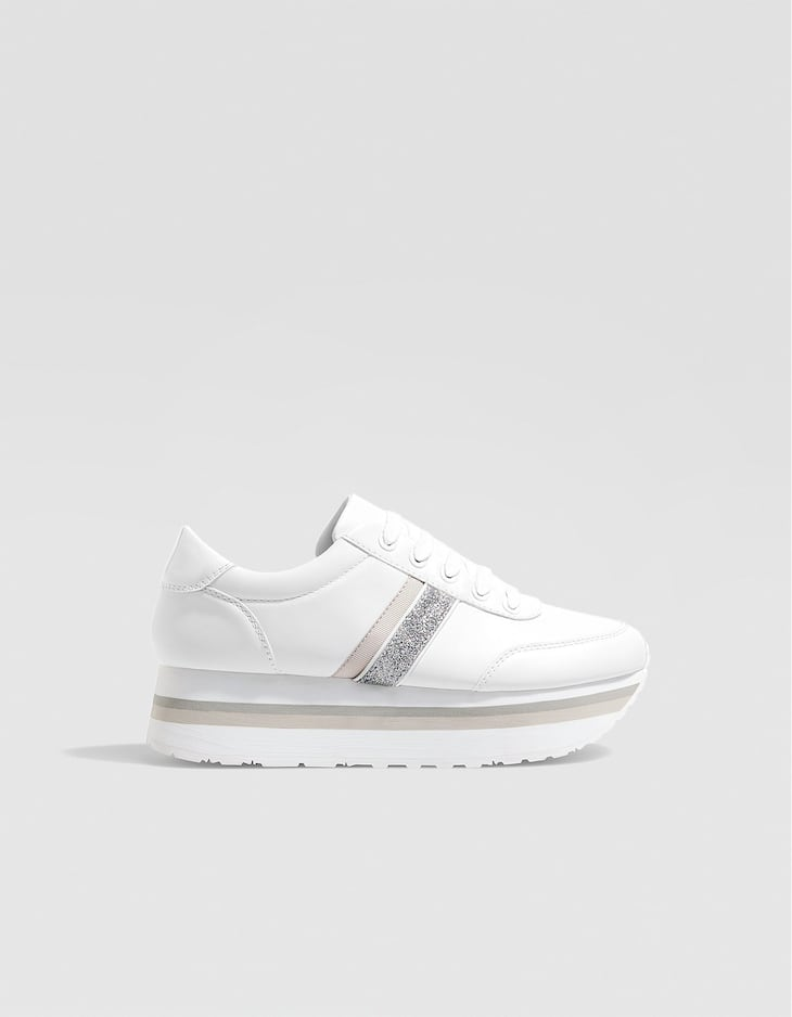 White contrasting platform trainers