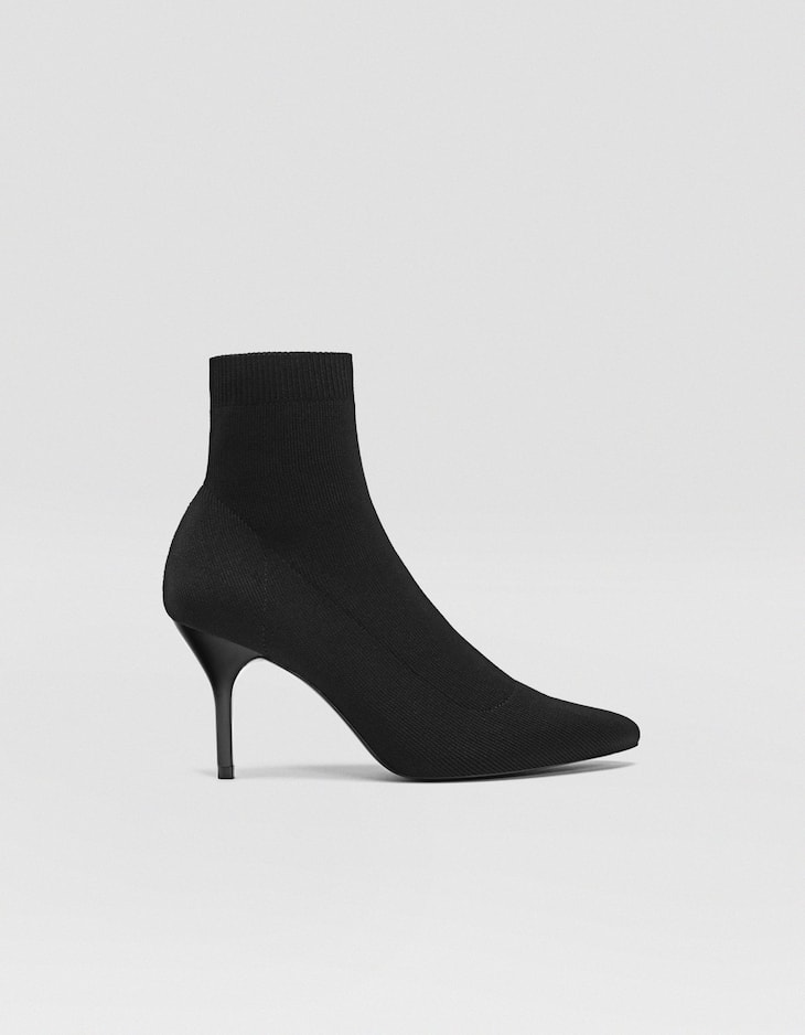 Black fabric stiletto heel ankle boots