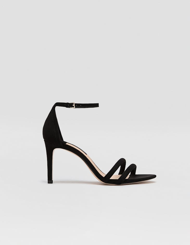 Black stiletto heel sandals