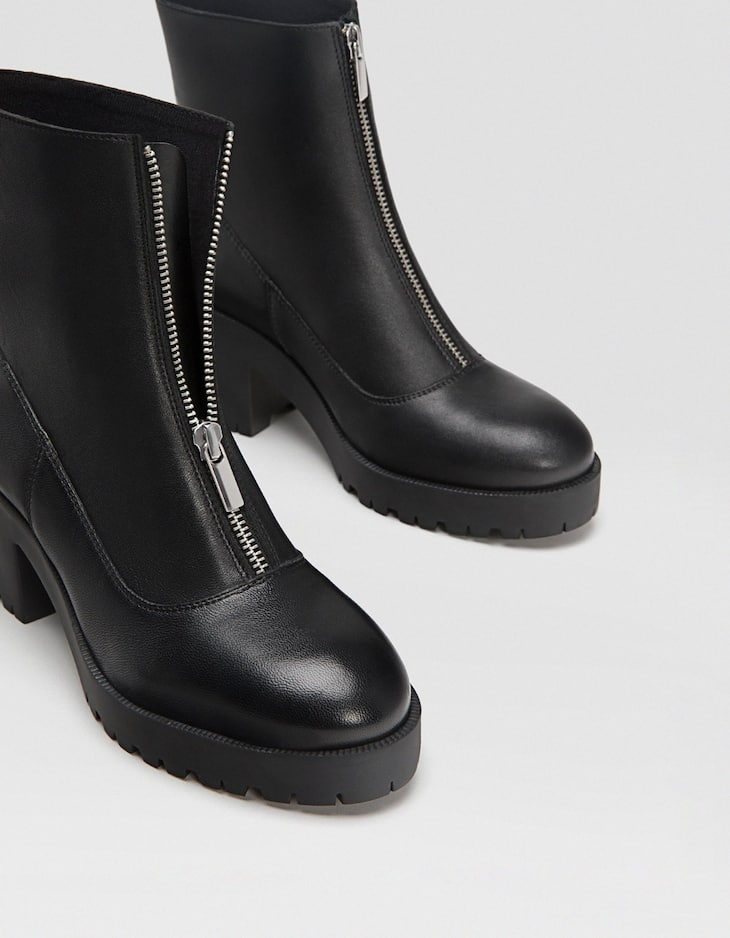 Black LEATHER track sole heeled ankle boots