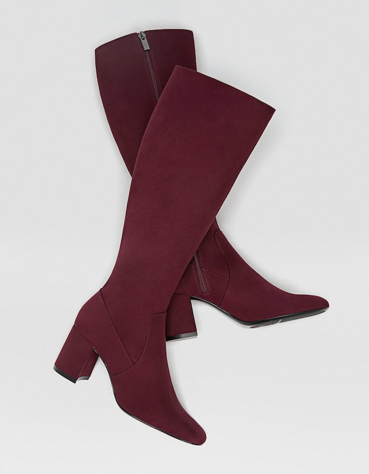 Maroon high-heel boots