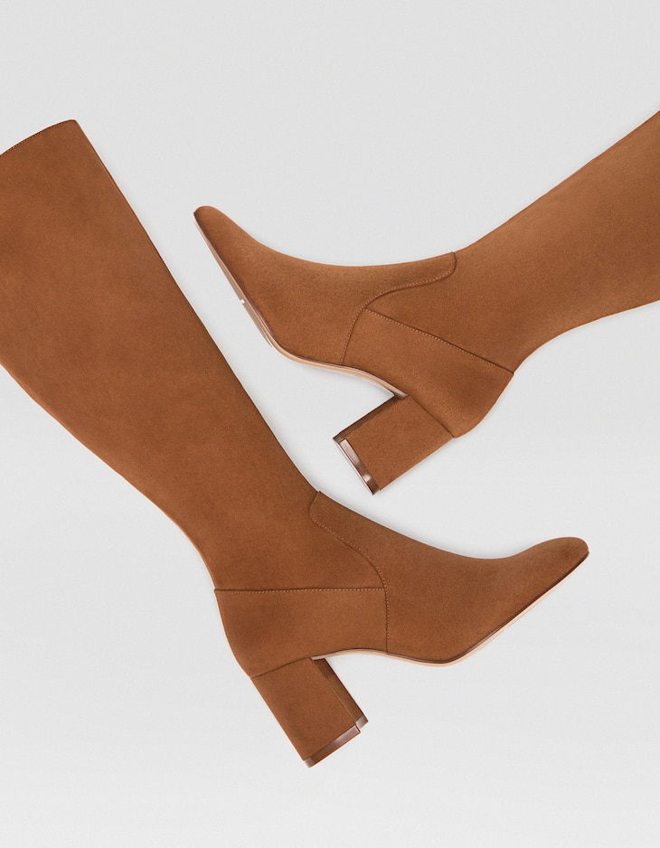 Brown high-heel boots