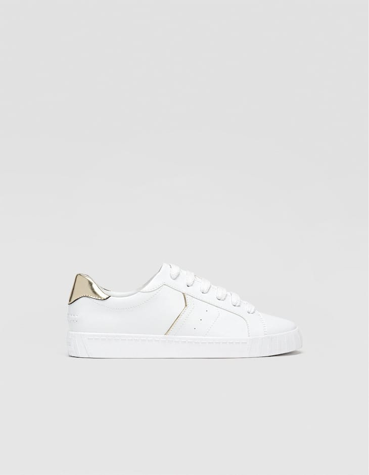 White sneakers with heel detail