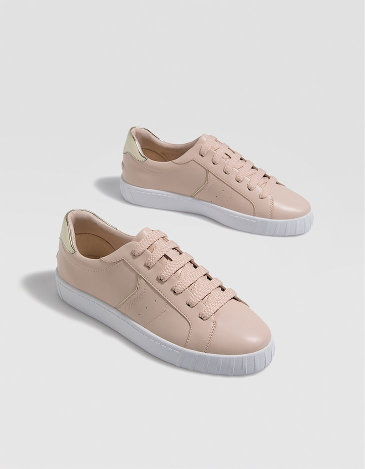 Nude trainers with heel detail