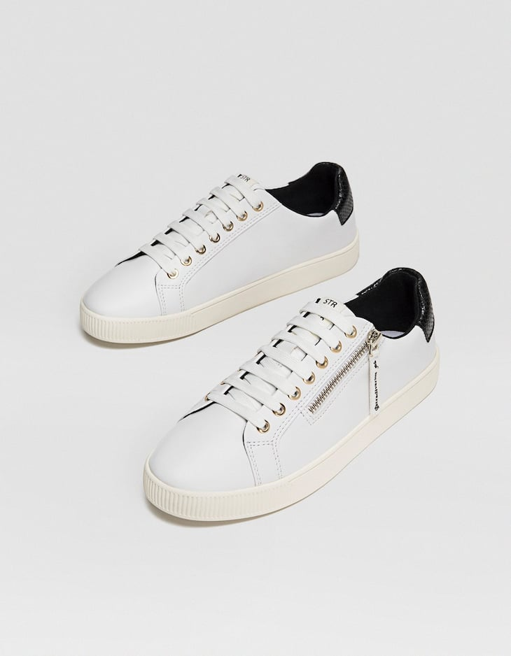 White zip-up plimsolls