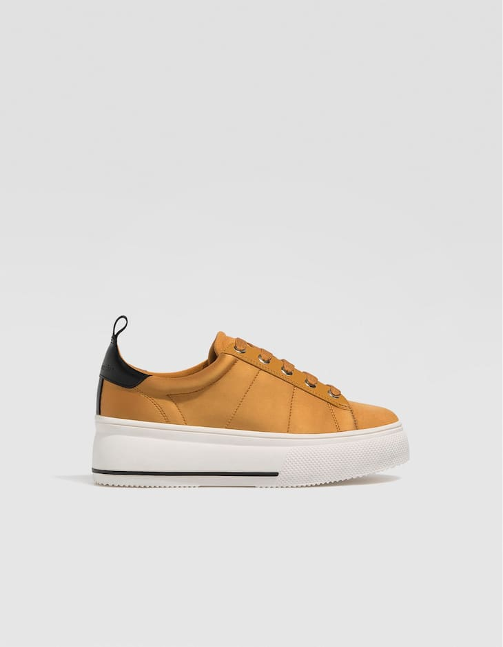 Mustard yellow platform trainers