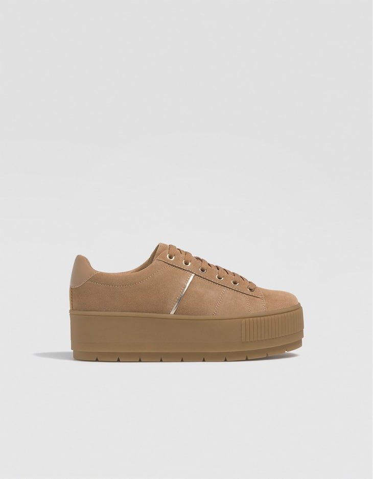 LEATHER platform trainers