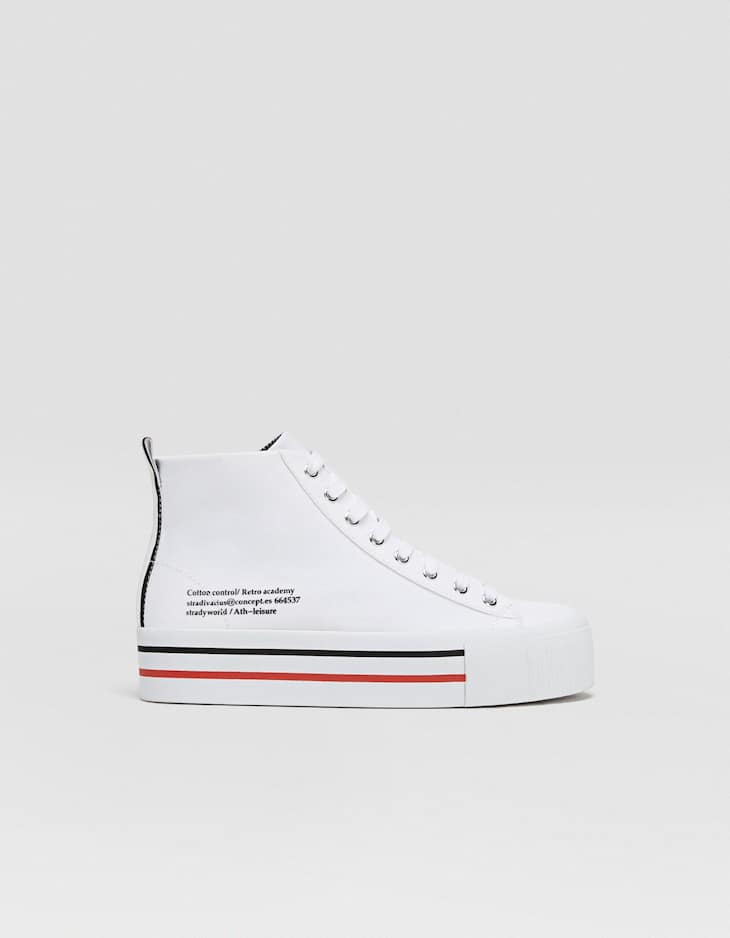 White fabric high-top trainers