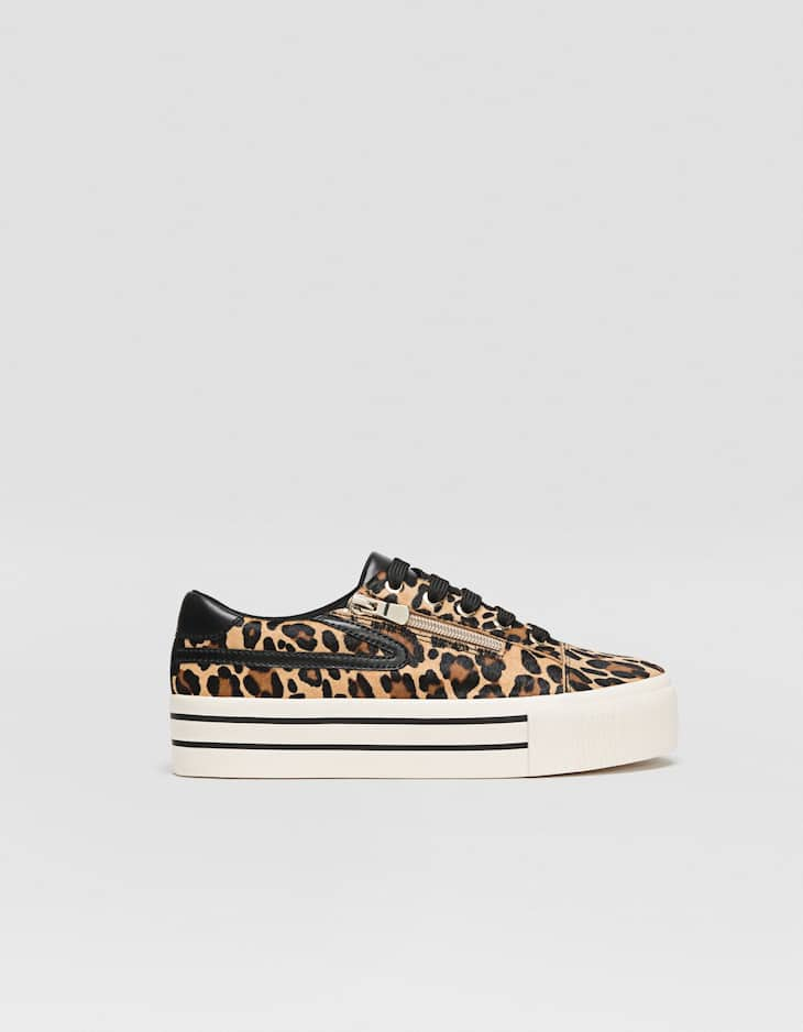 Leopard print LEATHER trainers