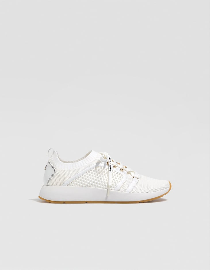 White contrasting fabric trainers
