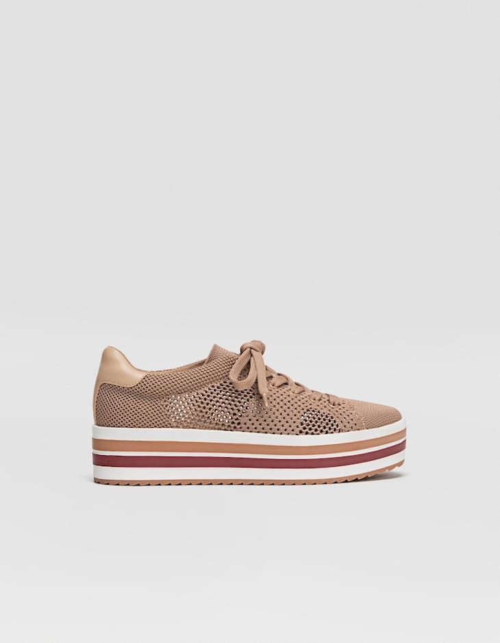 Woven platform trainers