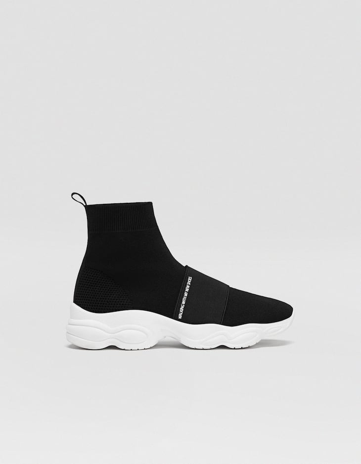 Black fabric high-top trainers
