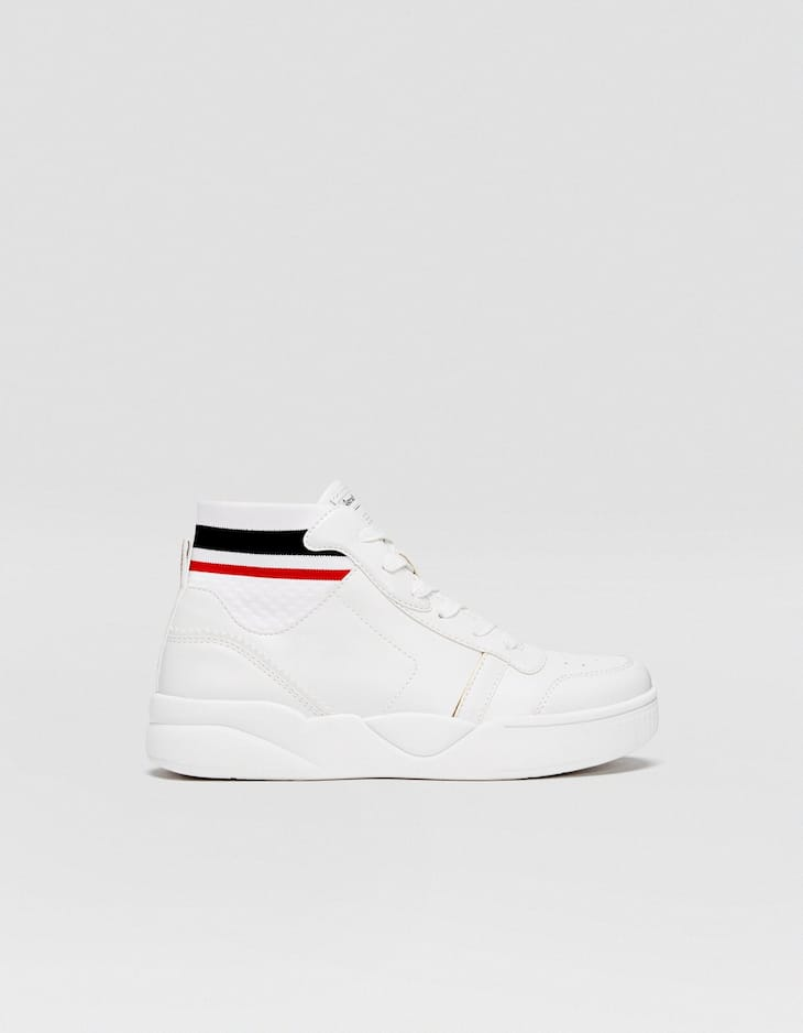 White high-top platform trainers