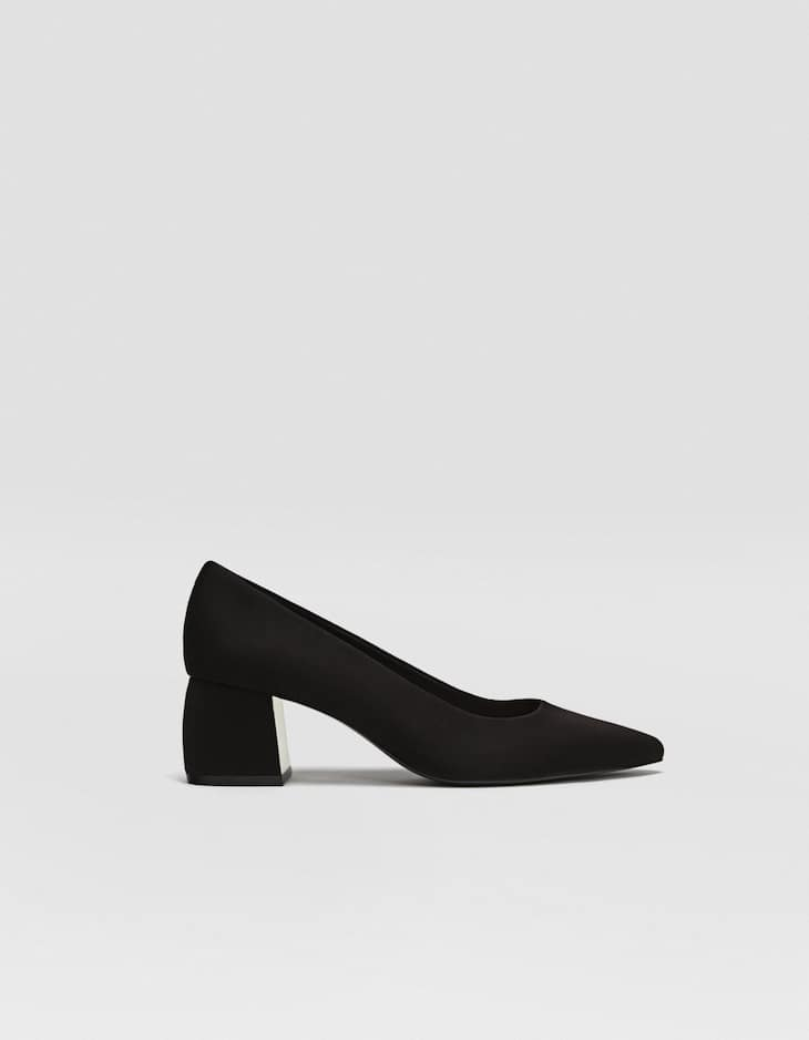 Black mid-heel court shoes