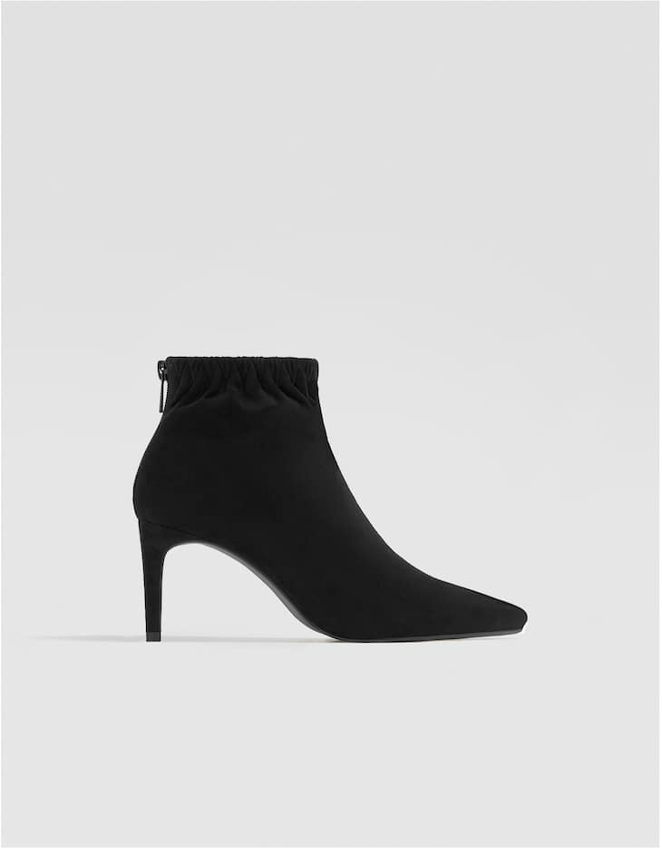 High heel ankle boots with gathered detail