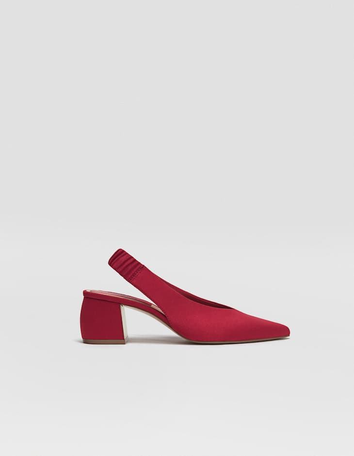 Red slingback mid heel court shoes