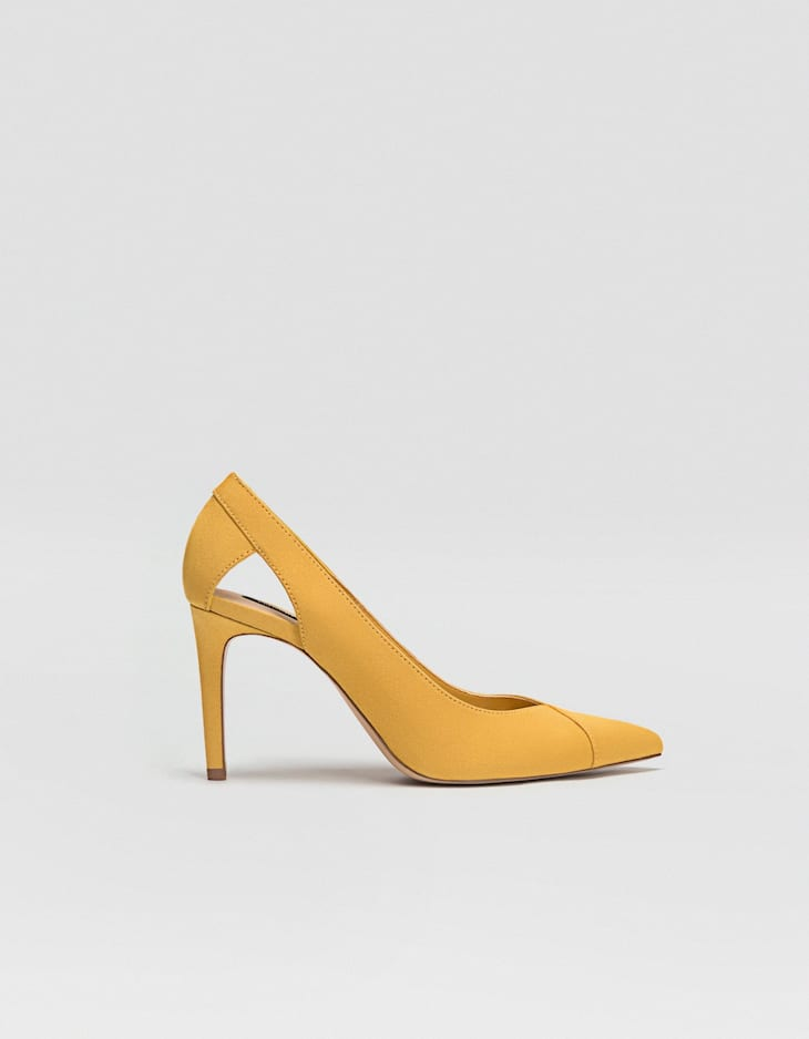 Mustard yellow cut-out high-heel court shoes