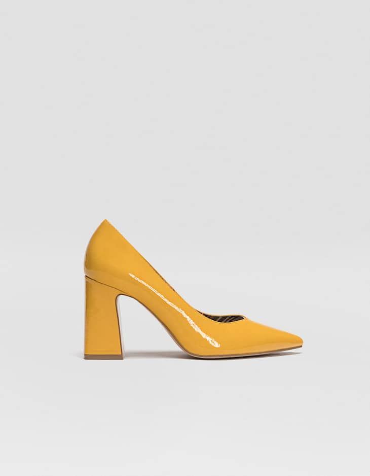 Yellow block heel court shoes