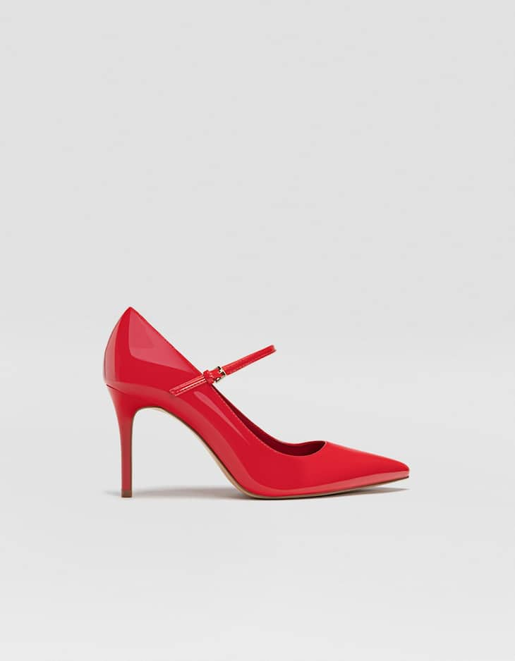 Red patent stiletto heel court shoes with strap